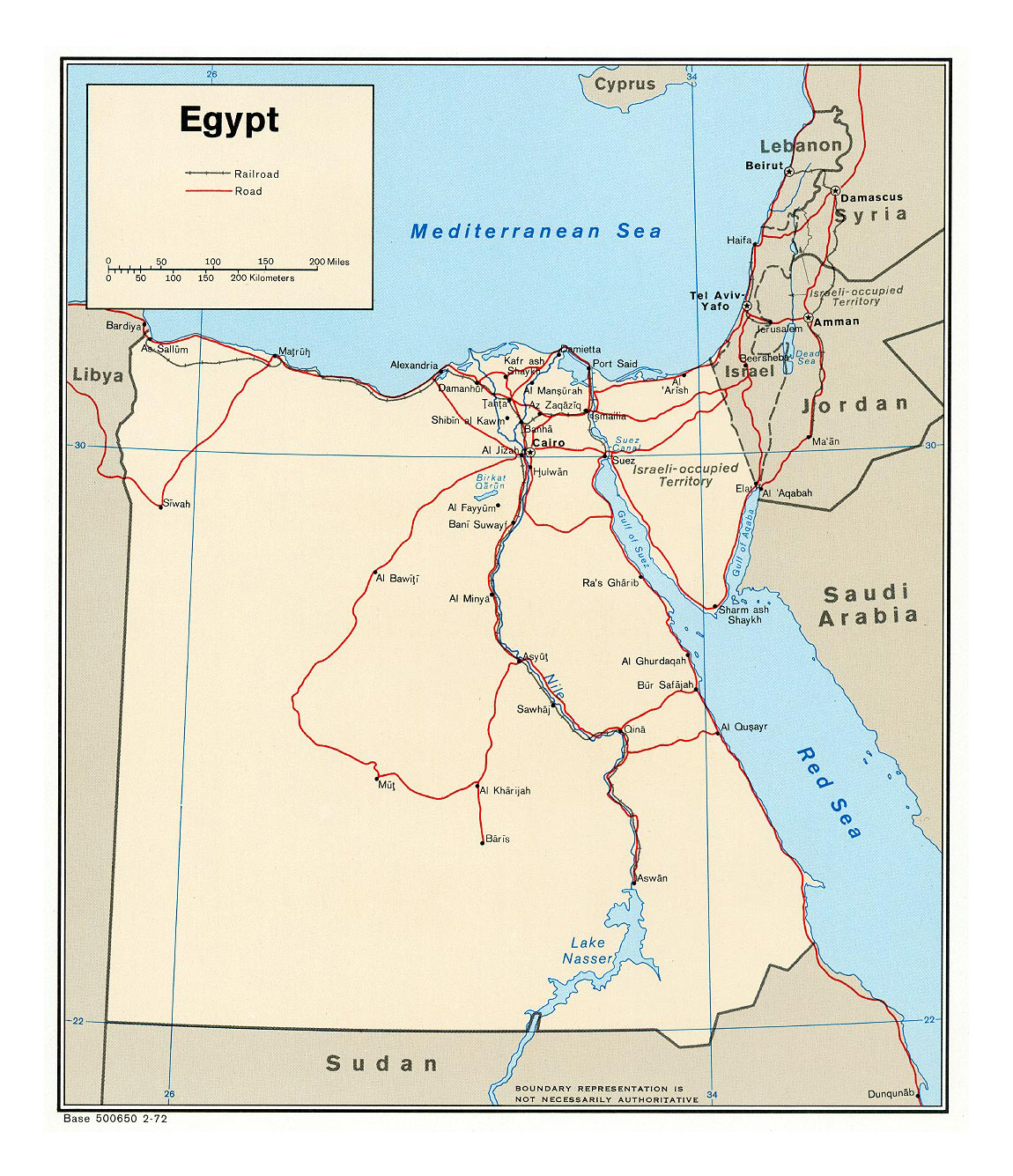 Detailed Political Map Of Egypt With Roads Railroads And Major - Map of egypt's major cities