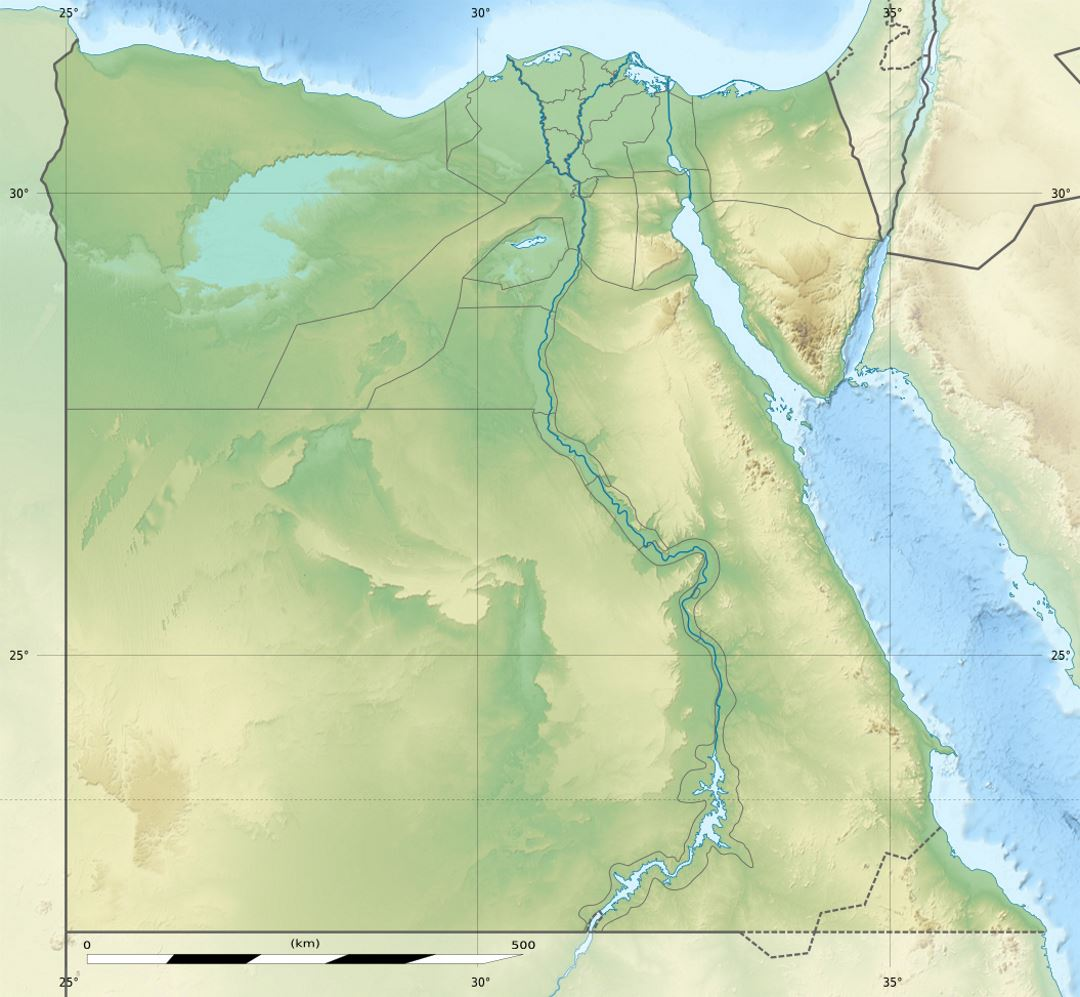 Detailed relief map of Egypt