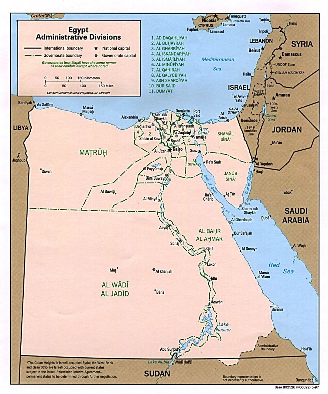 Large administrative divisions map of Egypt - 1997