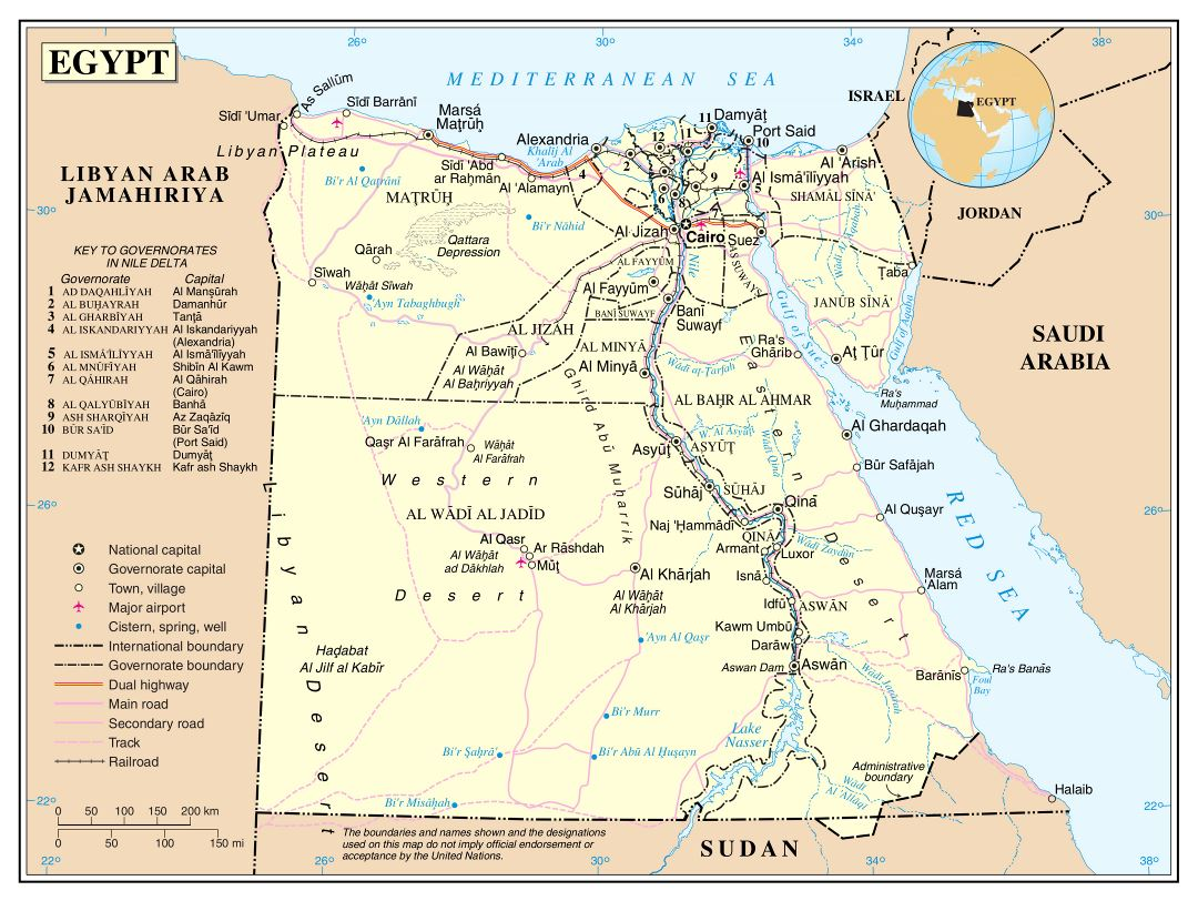 Large detailed political and administrative map of Egypt with roads, railroads, cities and airports