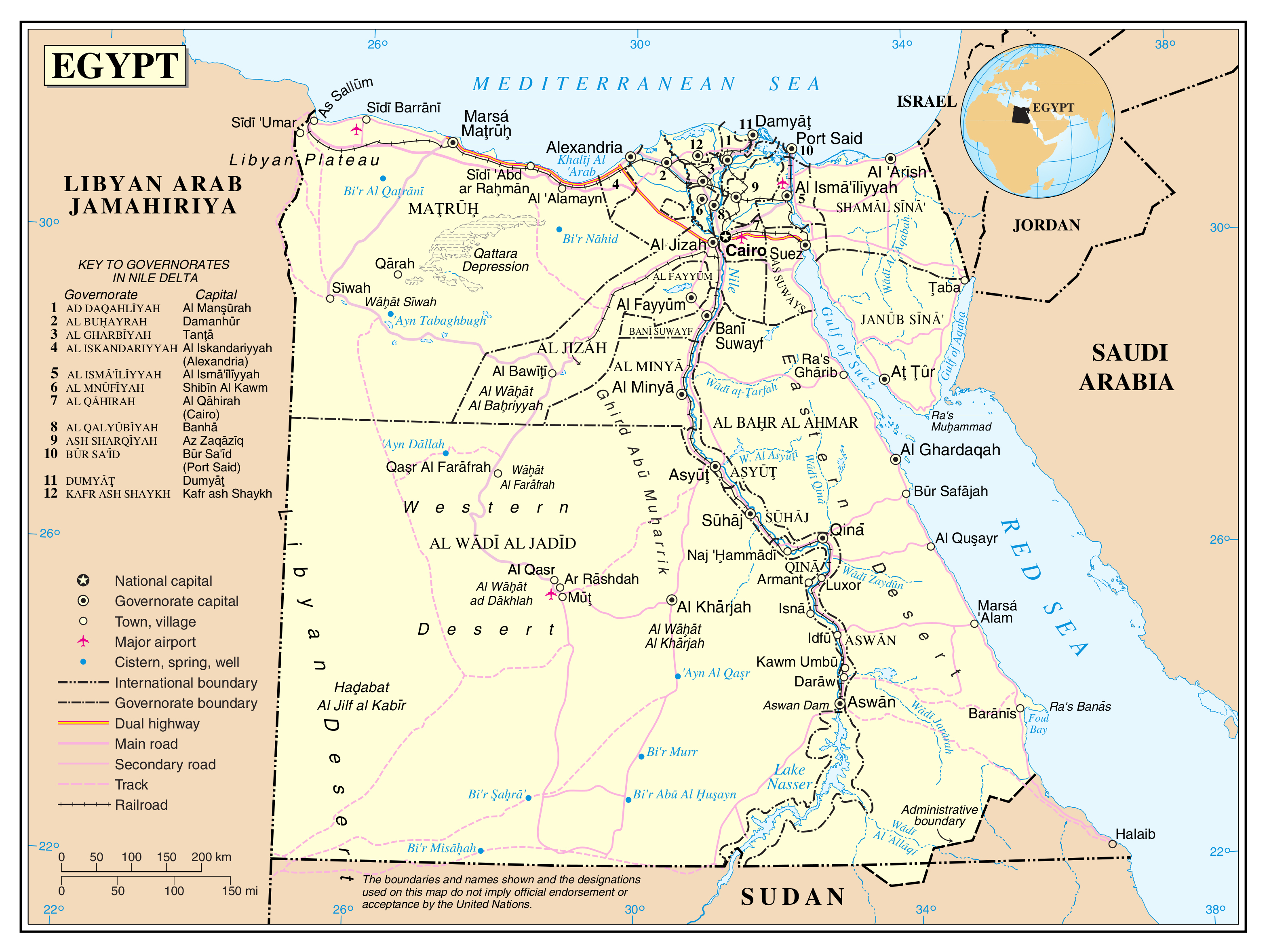 Large detailed political and administrative map of Egypt with roads ...