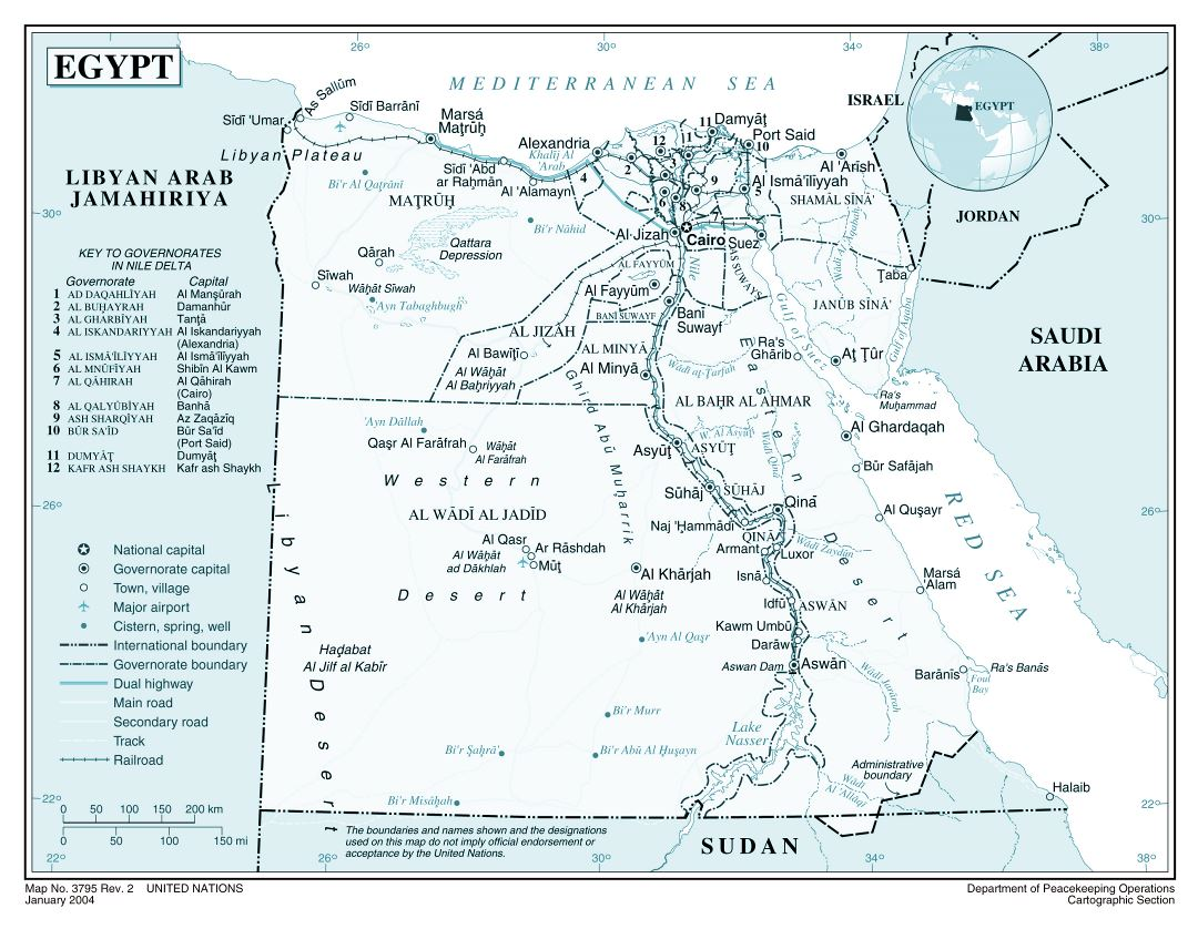 Large detailed political and administrative map of Egypt with roads, railroads, major cities and airports