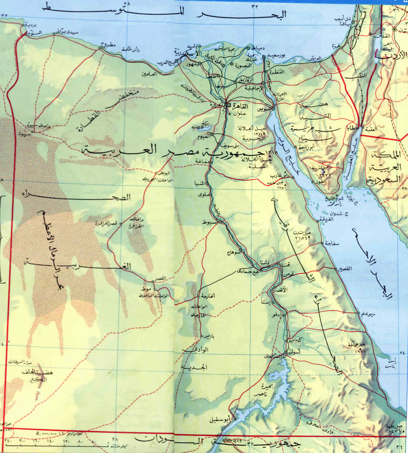 Large Elevation Map Of Egypt Egypt Africa Mapsland Maps Of - Map of egypt elevation