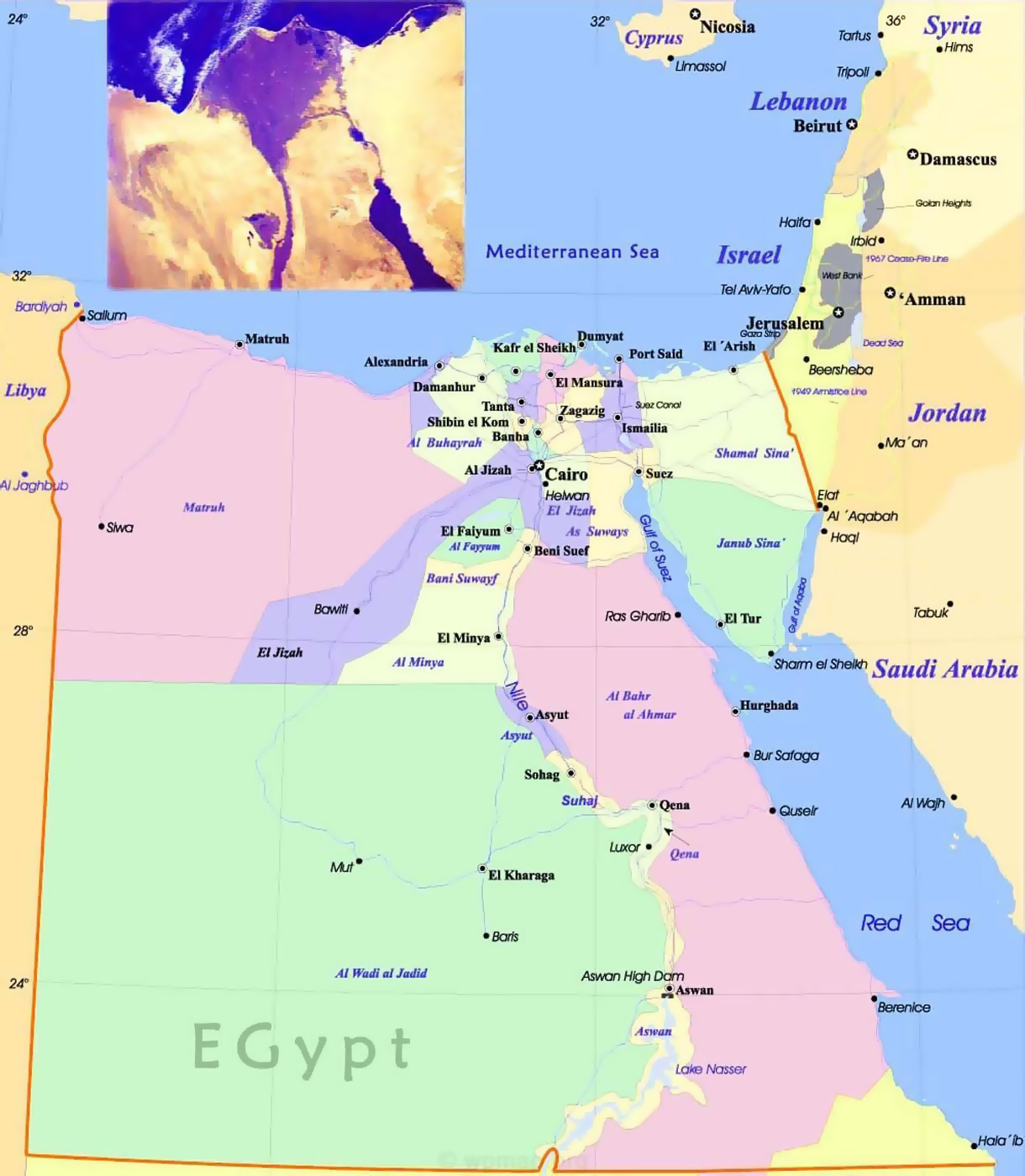 Large political and administrative map of Egypt with roads and