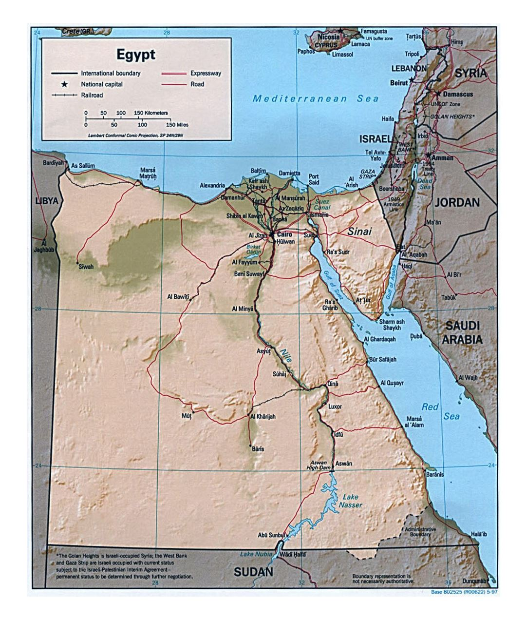 Large political map of Egypt with relief, roads, railroads and major cities - 1997
