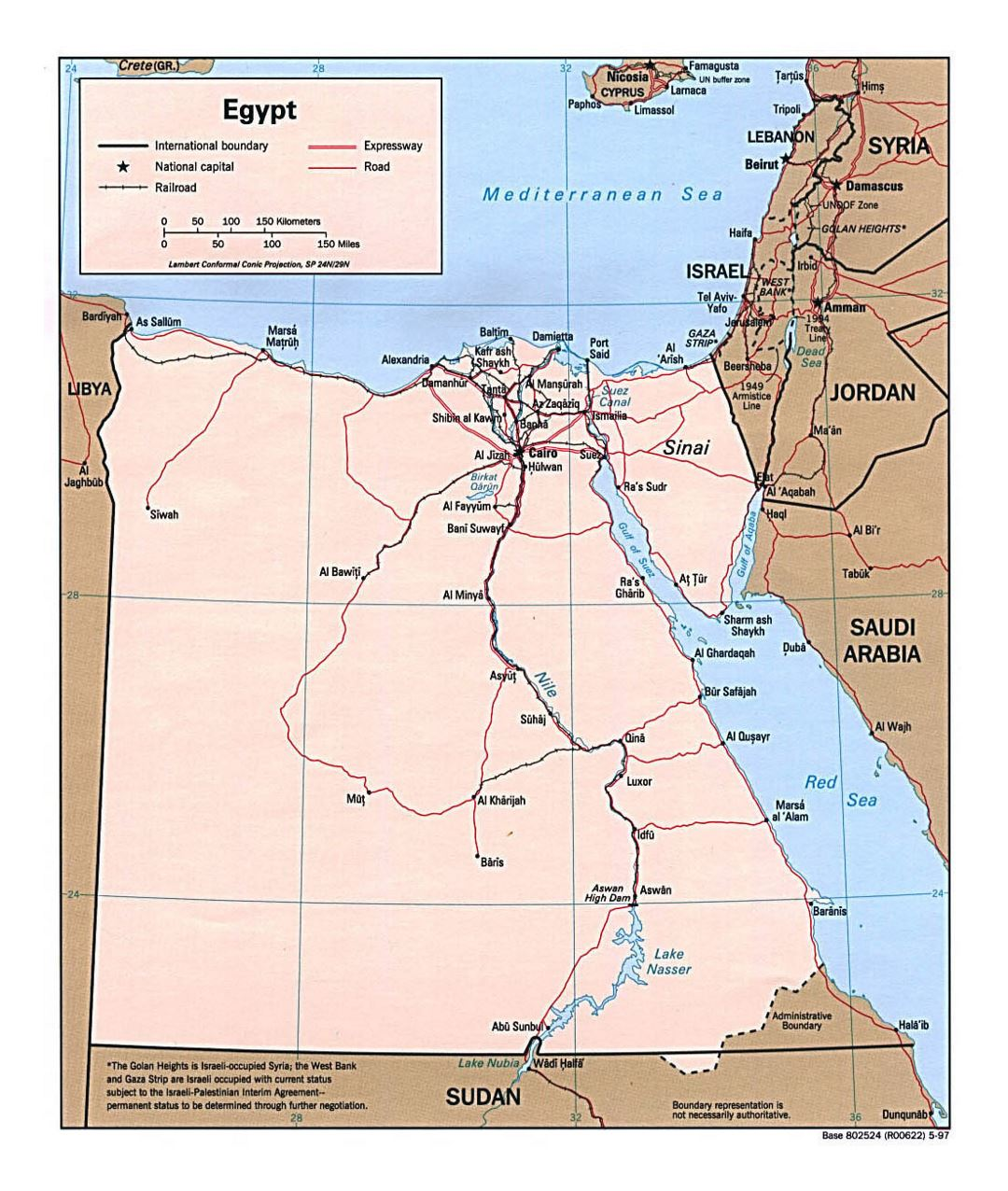 Large political map of Egypt with roads, railroads and major cities - 1997