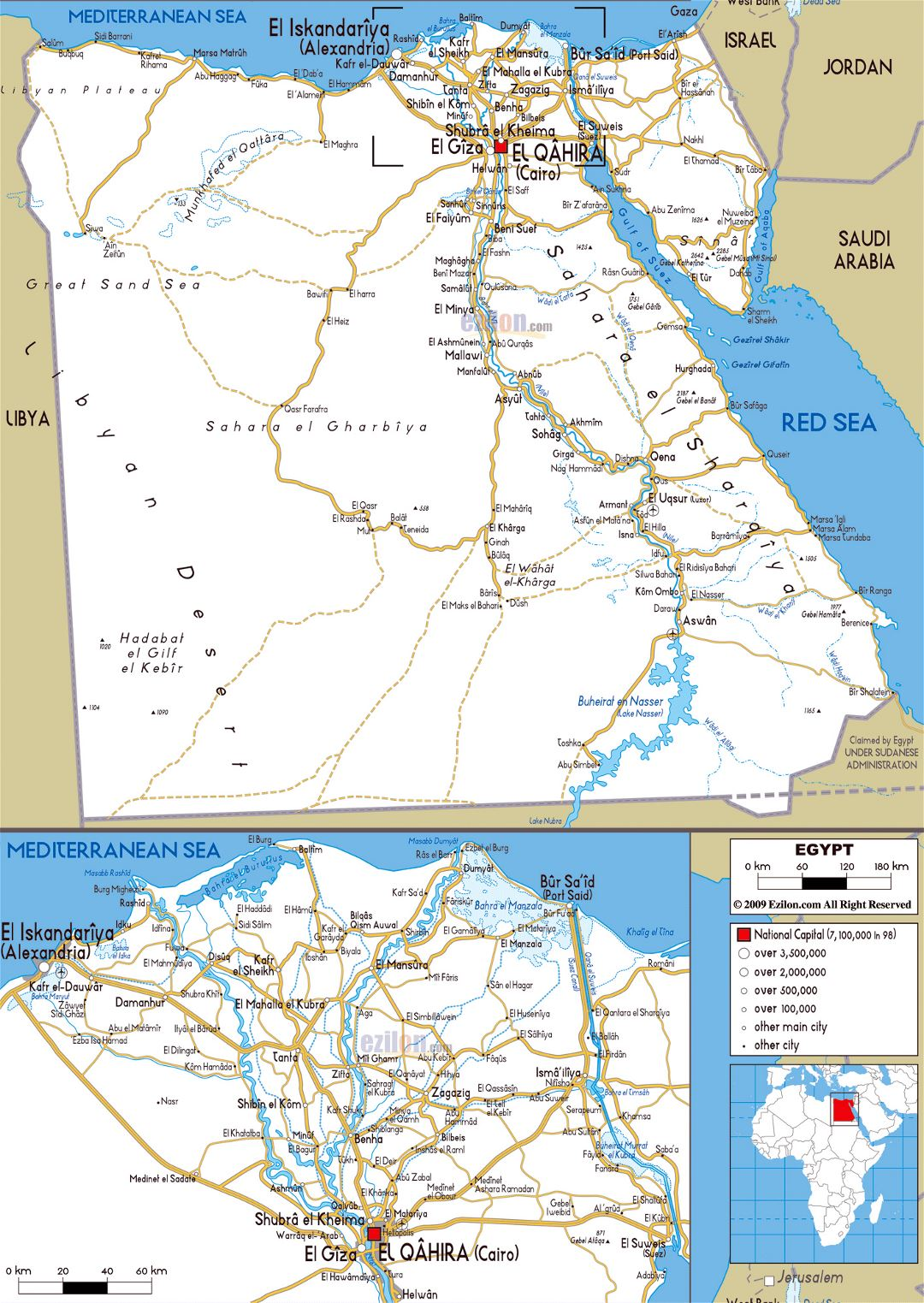 Large road map of Egypt with cities and airports