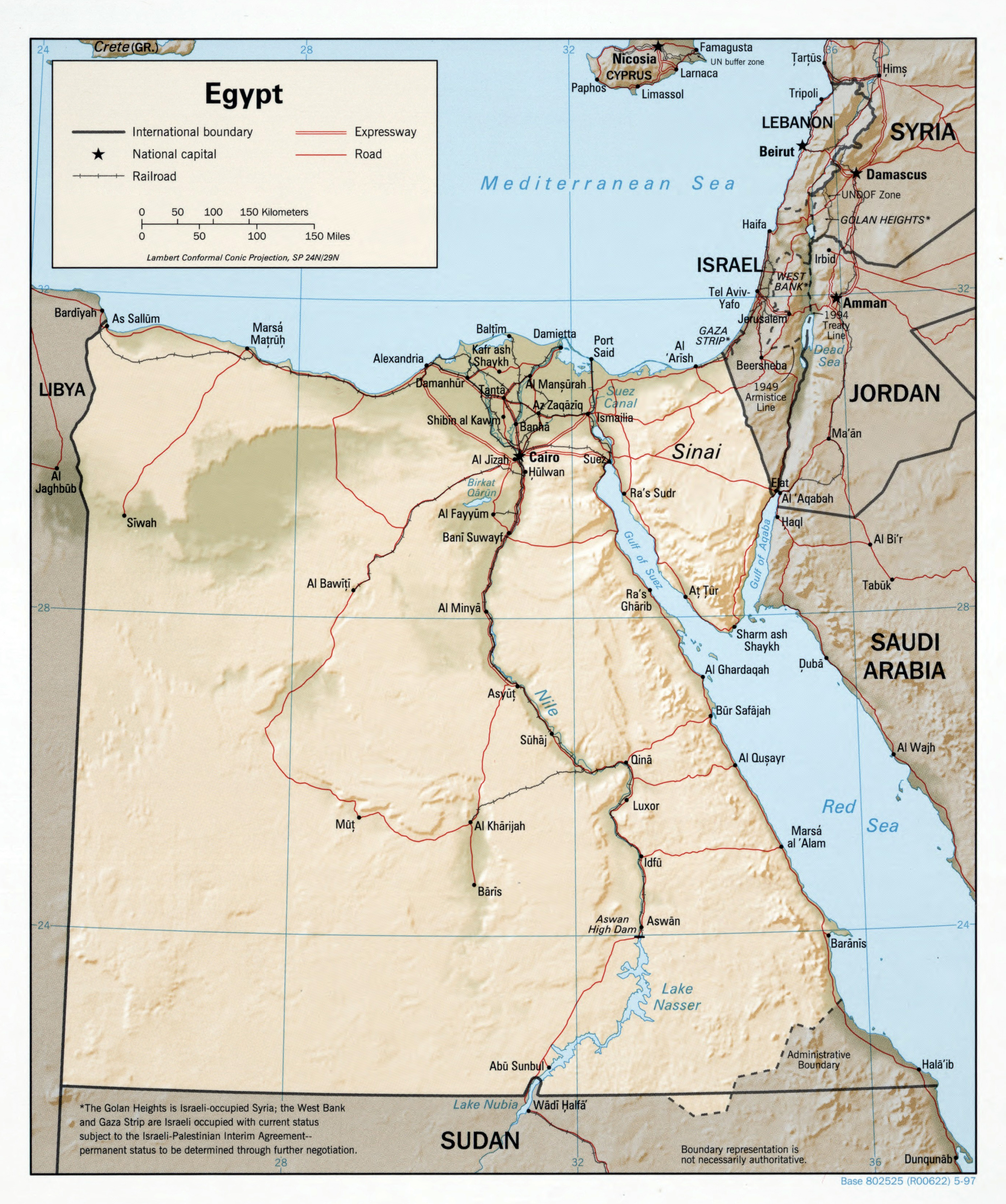 Large Scale Political Map Of Egypt With Relief Roads Railroads - Map of egypt with major cities