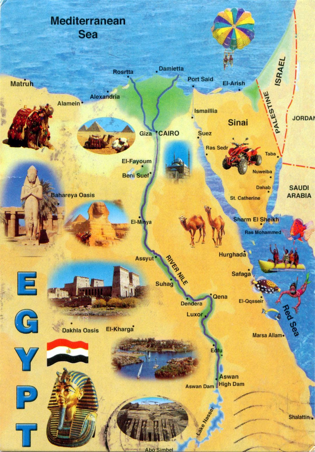 Large tourist map of Egypt