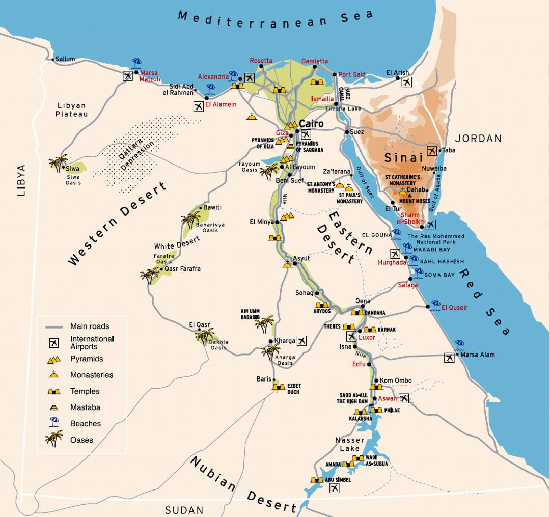 Large travel map of Egypt