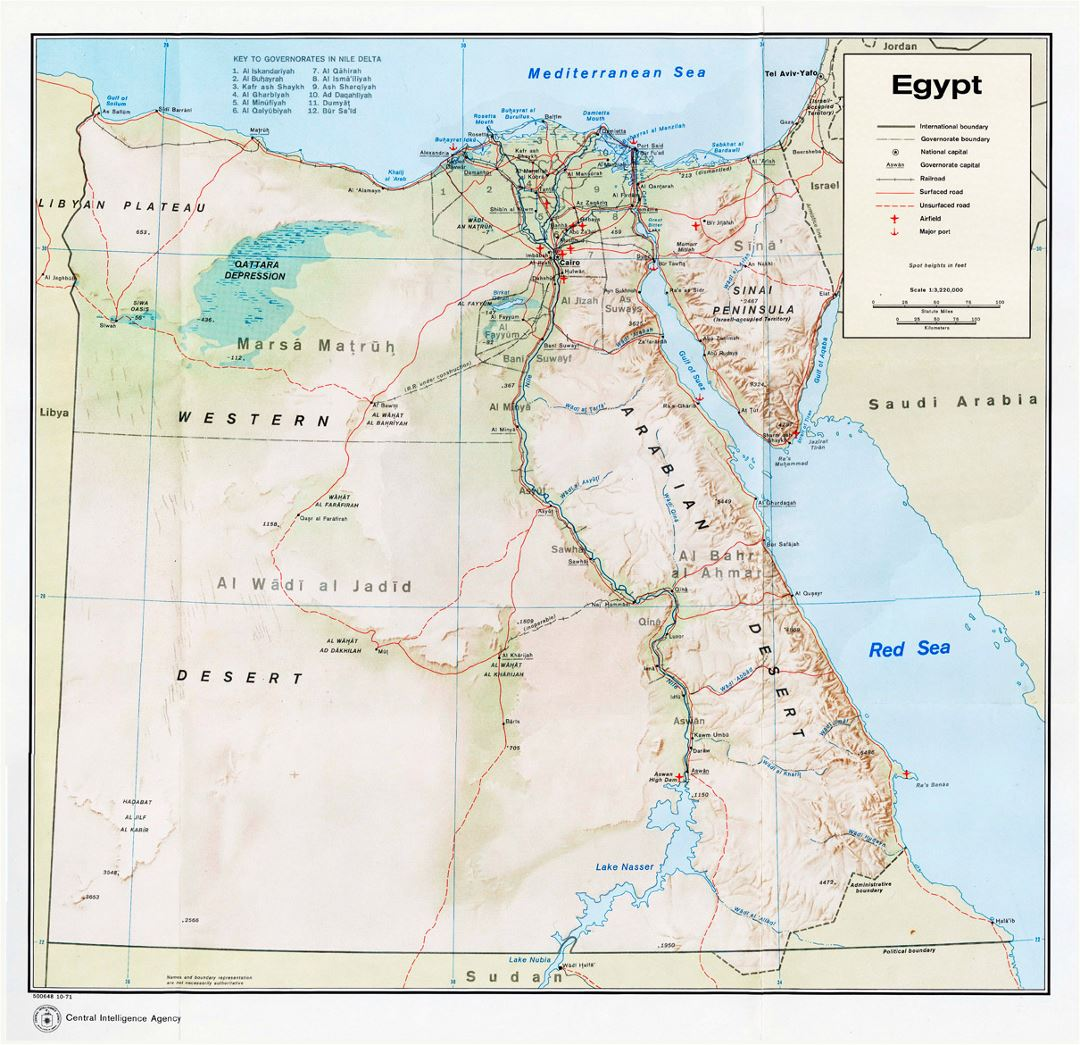 Political and administrative map of Egypt with relief, roads, railroads, cities, ports and airports - 1971