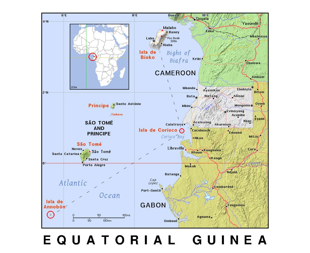 Maps of equatorial guinea detailed map of equatorial guinea in detailed political map of equatorial guinea with relief gumiabroncs Choice Image