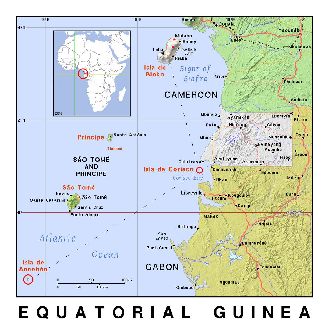 Detailed political map of Equatorial Guinea with relief