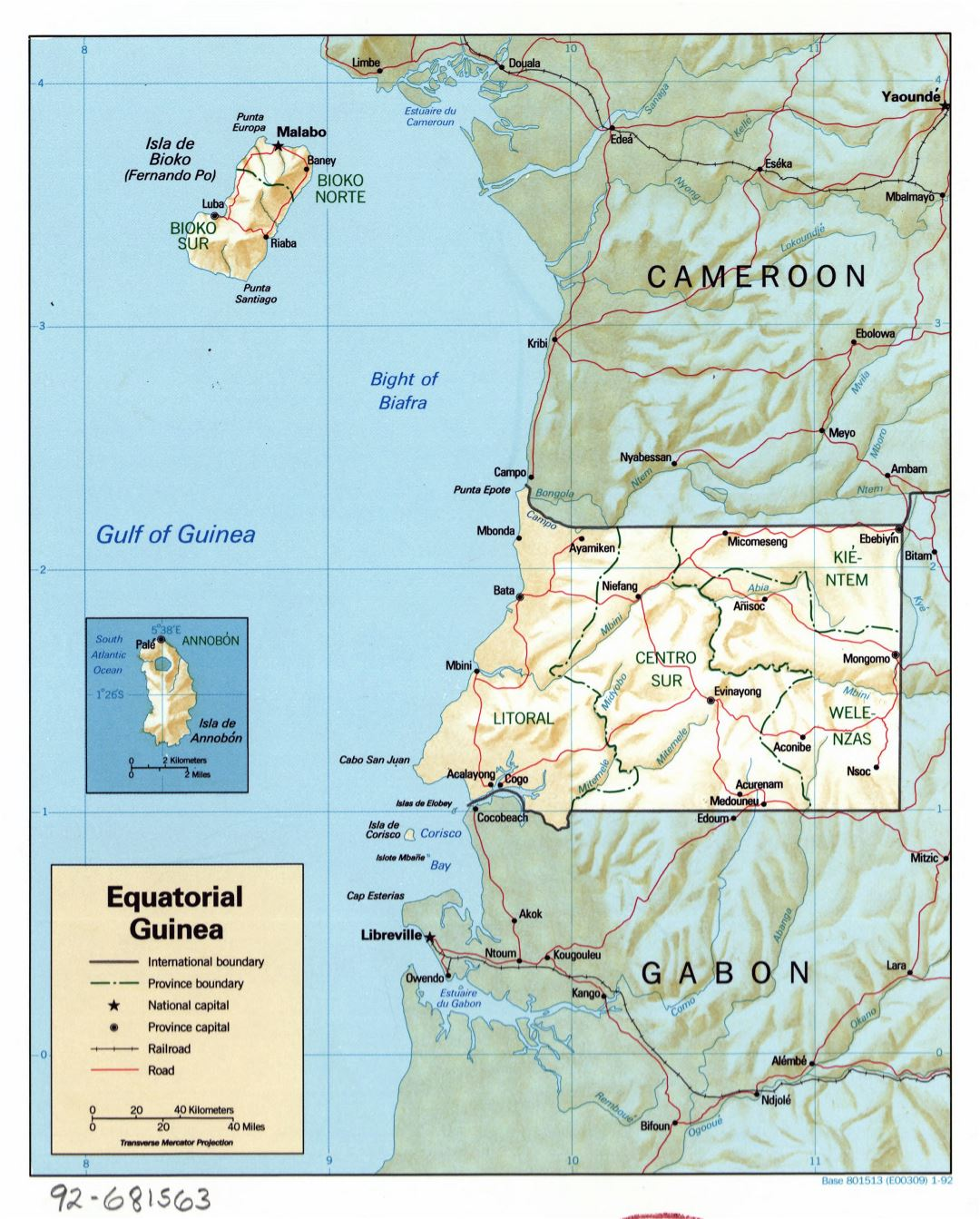 Large detailed political and administrative map of Equatorial Guinea with relief, roads, railroads and major cities - 1992
