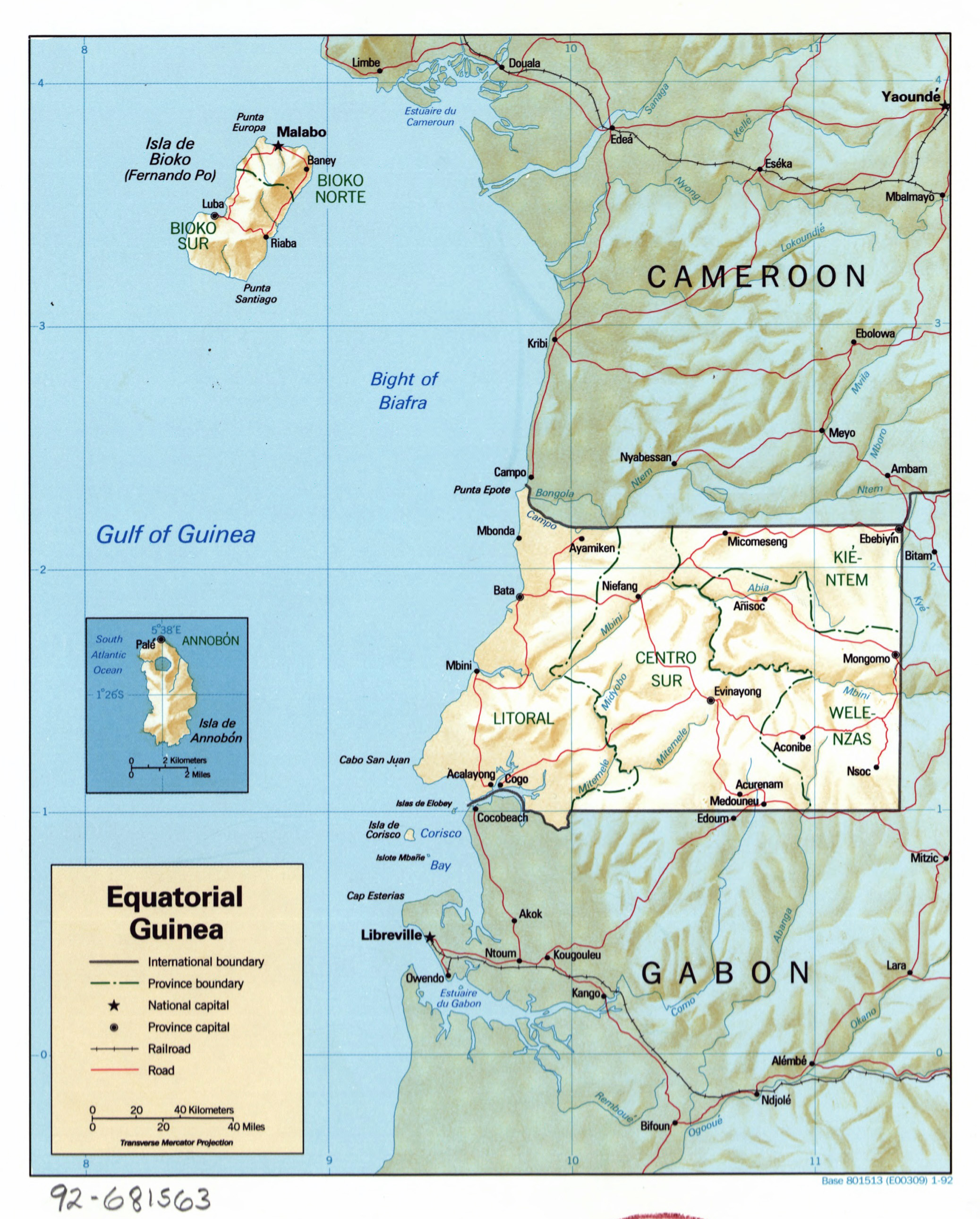 Large detailed political and administrative map of equatorial large detailed political and administrative map of equatorial guinea with relief roads railroads and gumiabroncs Images