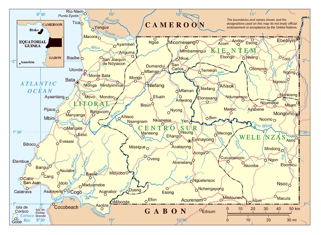 Large detailed political and administrative map of Equatorial Guinea with roads and cities