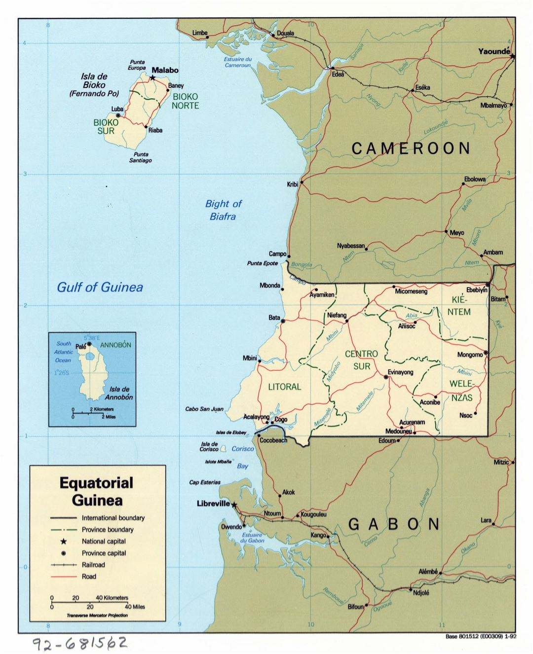Large detailed political and administrative map of Equatorial Guinea with roads, railroads and major cities - 1992