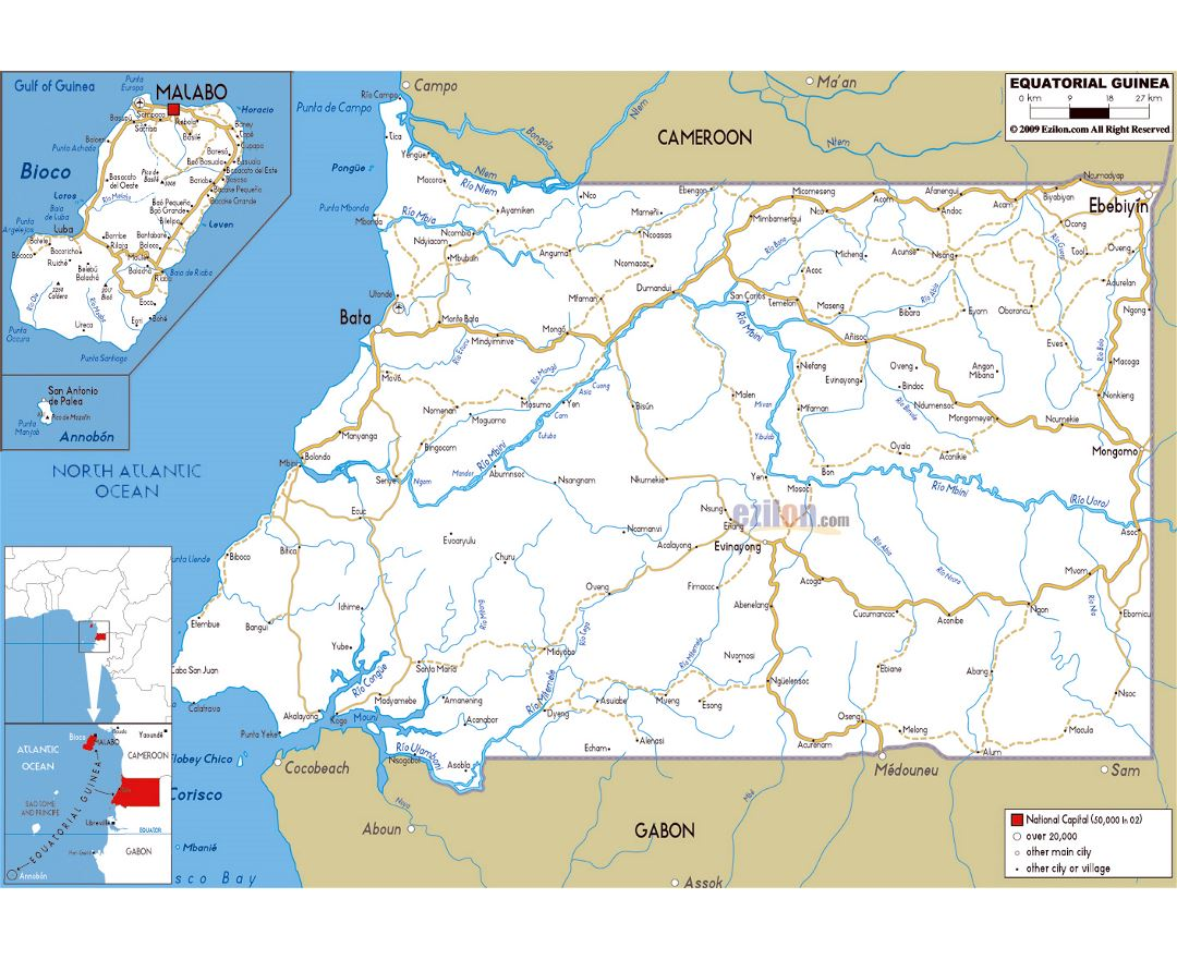 Maps of Equatorial Guinea Detailed map of Equatorial Guinea in