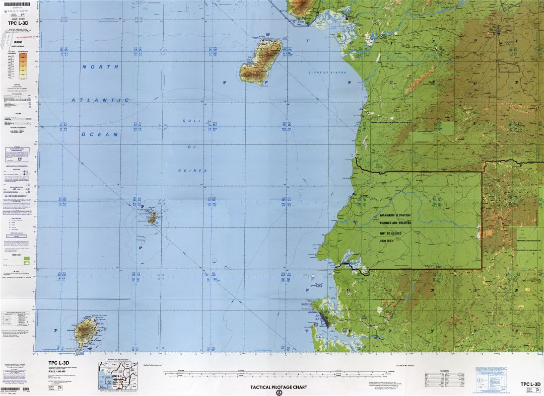 Large scale detailed topographical map of Equatorial Guinea