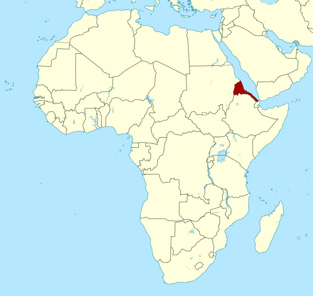 Detailed location map of Eritrea in Africa