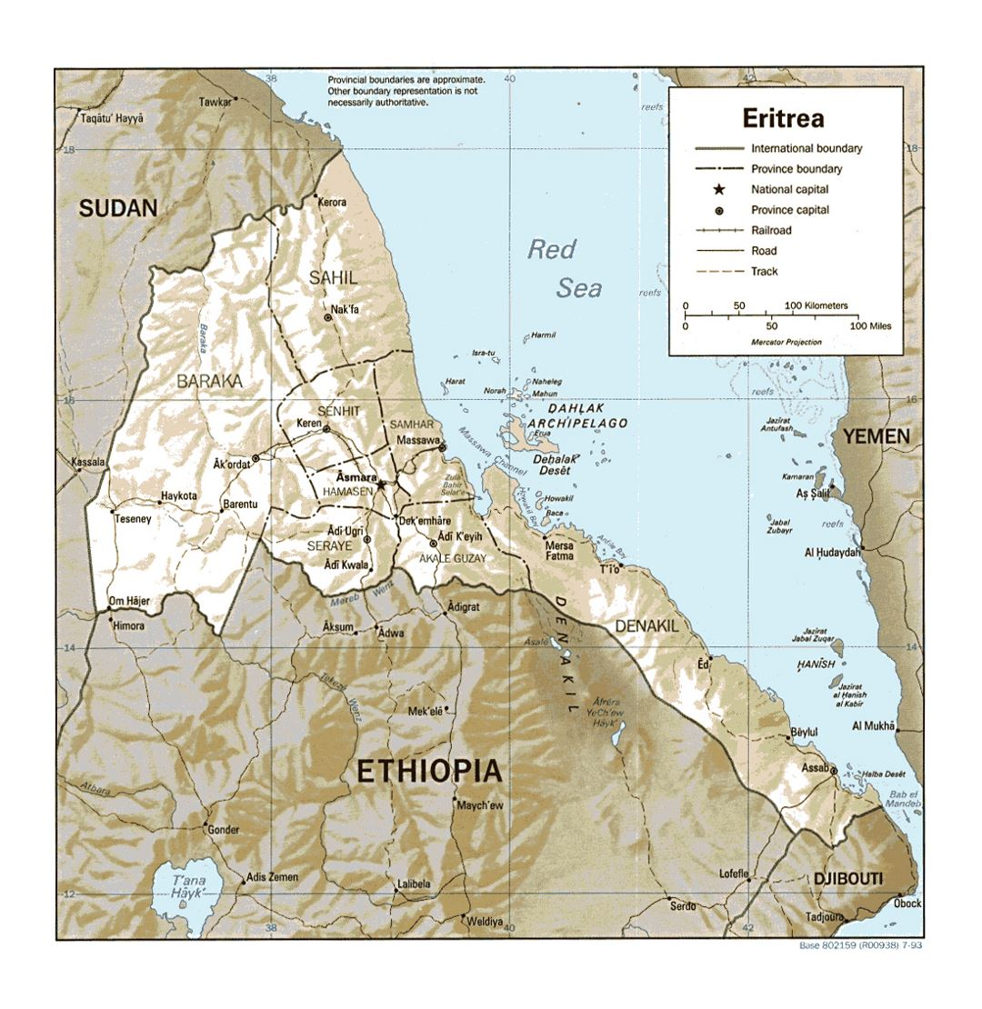 Detailed political and administrative map of Eritrea with relief, roads, railroads and major cities - 1993