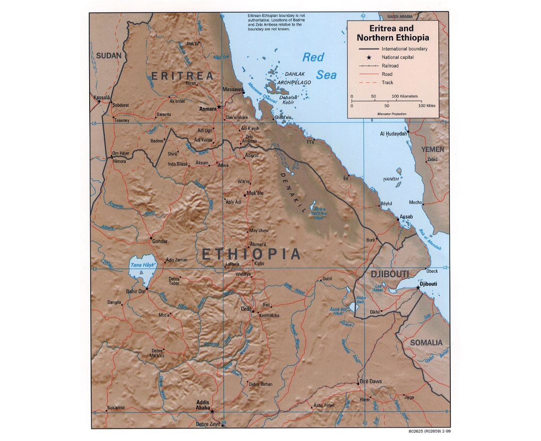 Maps of eritrea detailed map of eritrea in english tourist map detailed political map of eritrea and northern ethiopia with relief roads railroads and major gumiabroncs Image collections