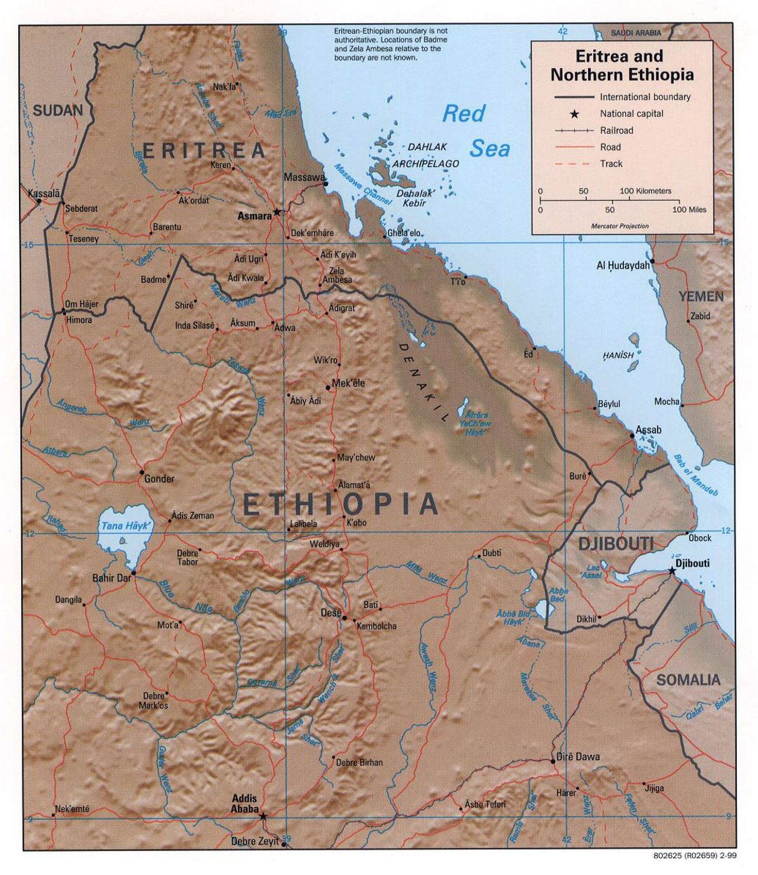 Detailed political map of Eritrea and Northern Ethiopia with relief, roads, railroads and major cities - 1999