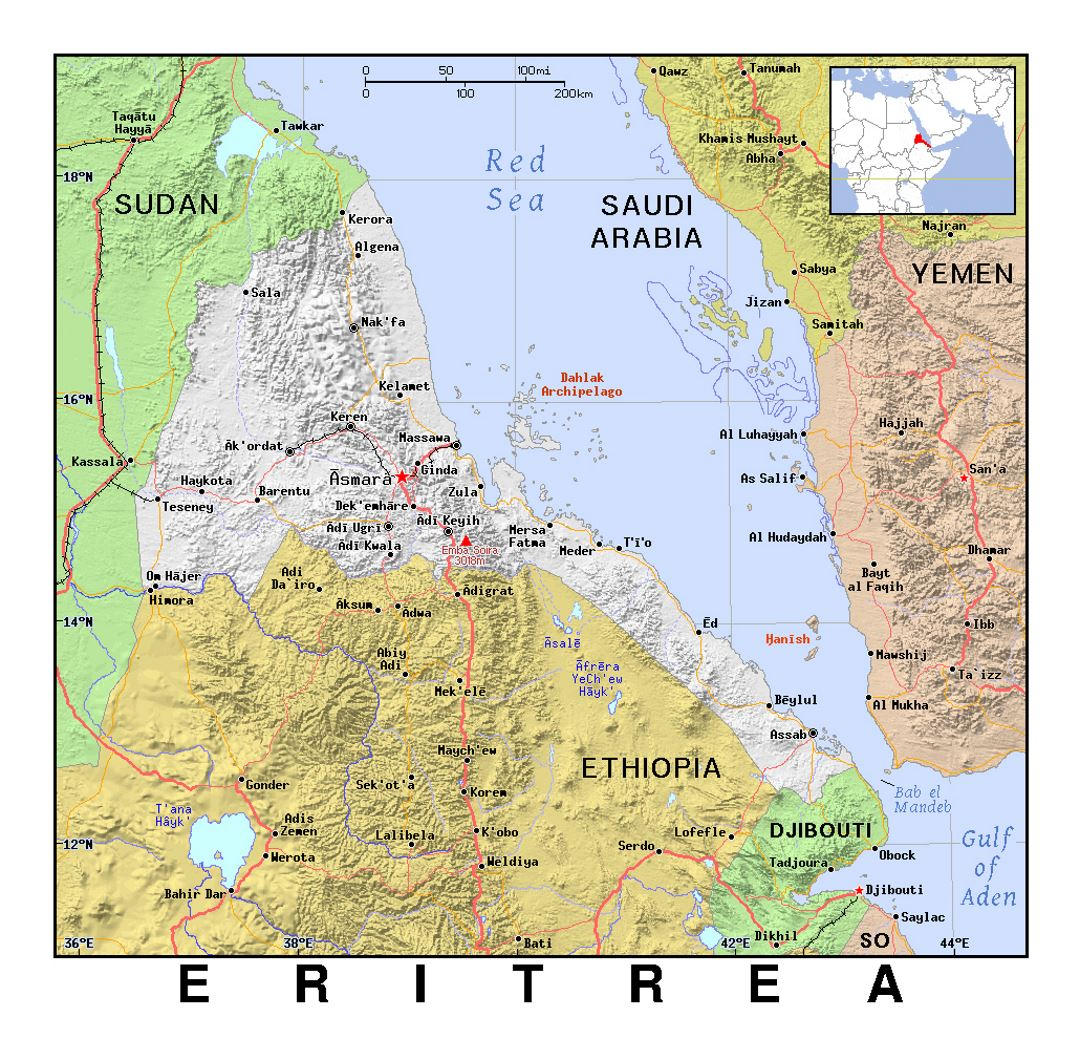Detailed political map of Eritrea with relief