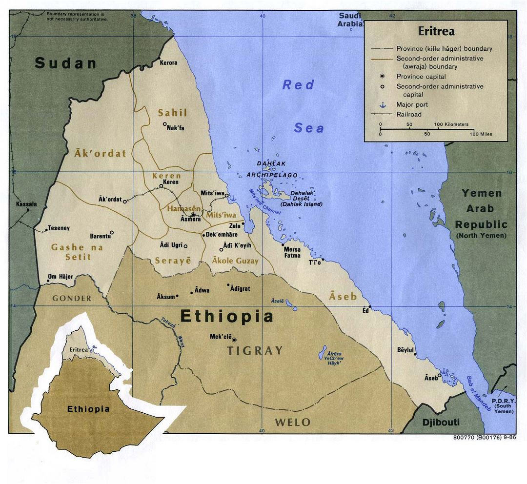 Detailed political map of Eritrea with roads, railroads, ports and major cities - 1986