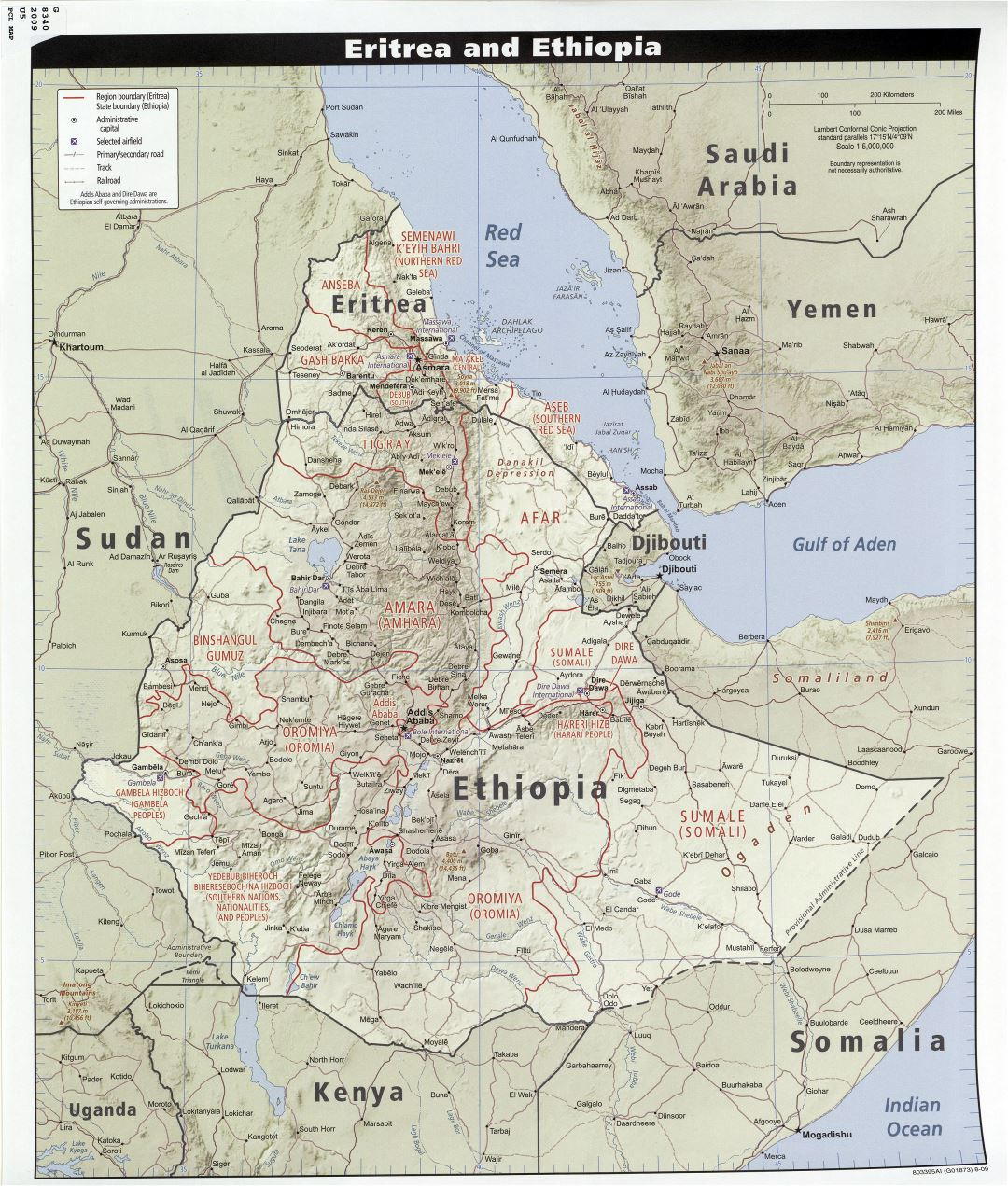 Large detailed political and administrative map of Eritrea and Ethiopia with relief, roads, railroads, airports and cities - 2009