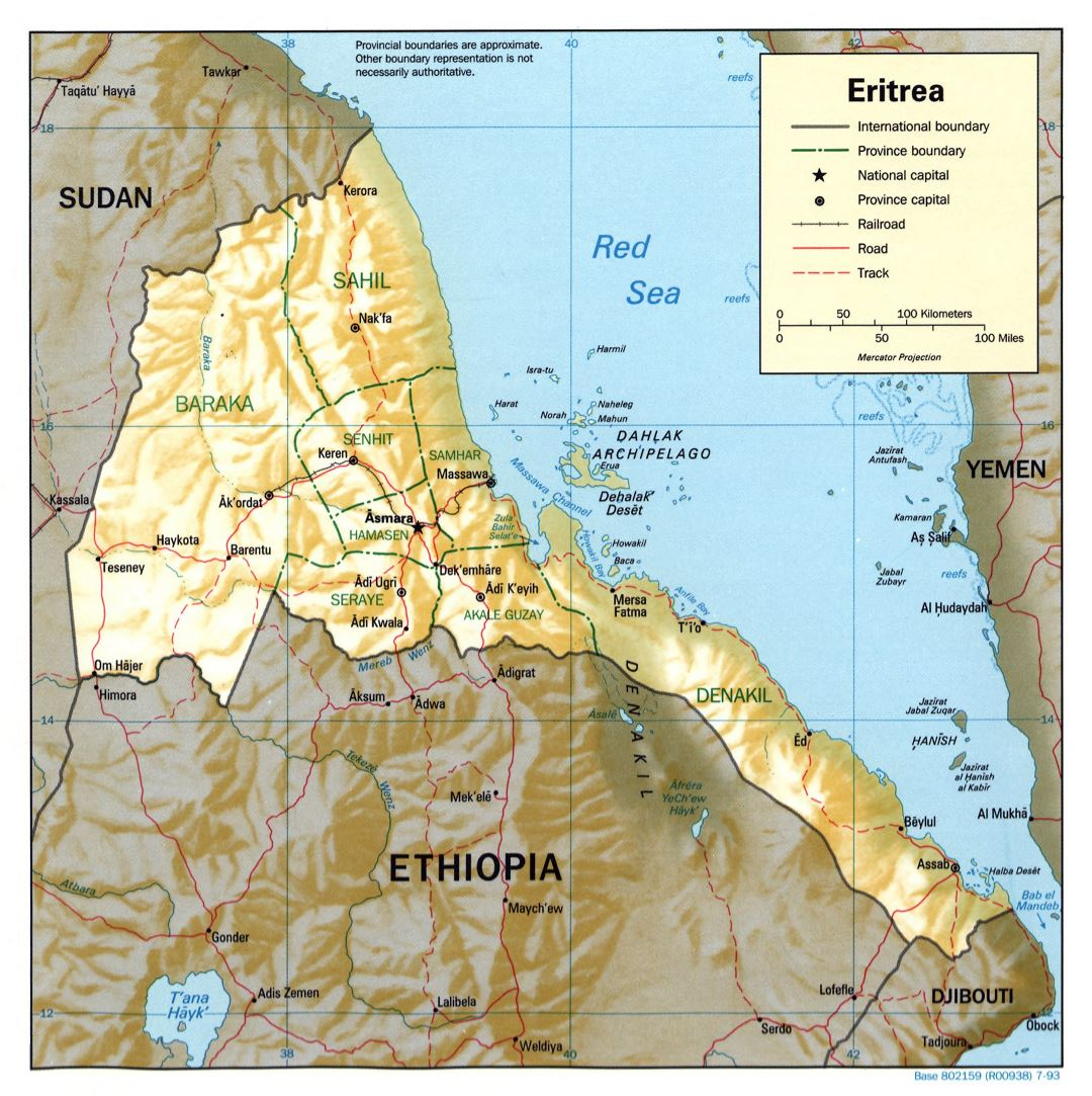 Large detailed political and administrative map of Eritrea with relief, roads, railroads and major cities - 1993