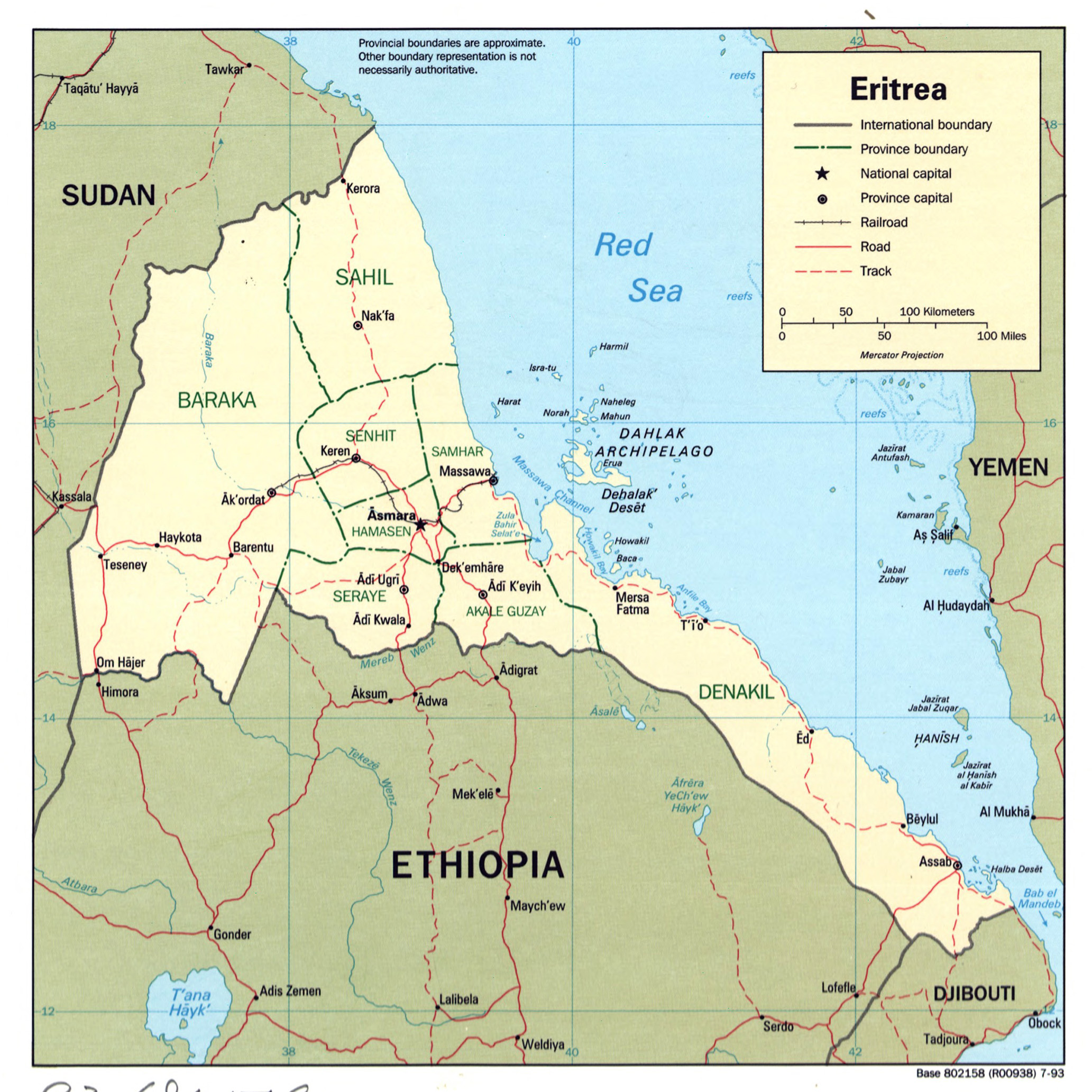 Large detailed political and administrative map of Eritrea with