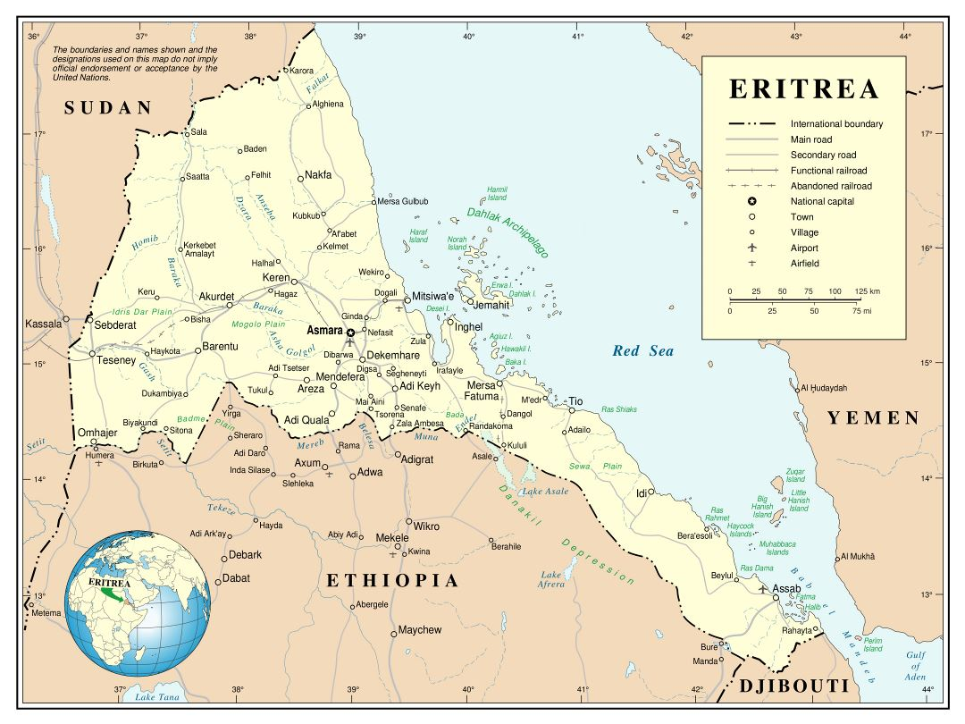 Large detailed political and administrative map of Eritrea with roads, railroads, cities and airports