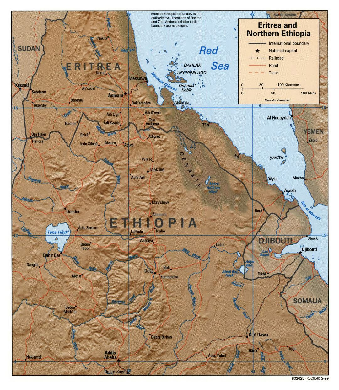 Large detailed political map of Eritrea and Northern Ethiopia with relief, roads, railroads and major cities - 1999