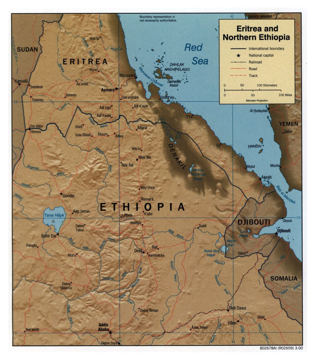 Large detailed political map of Eritrea and Northern Ethiopia with relief, roads, railroads and major cities - 2000