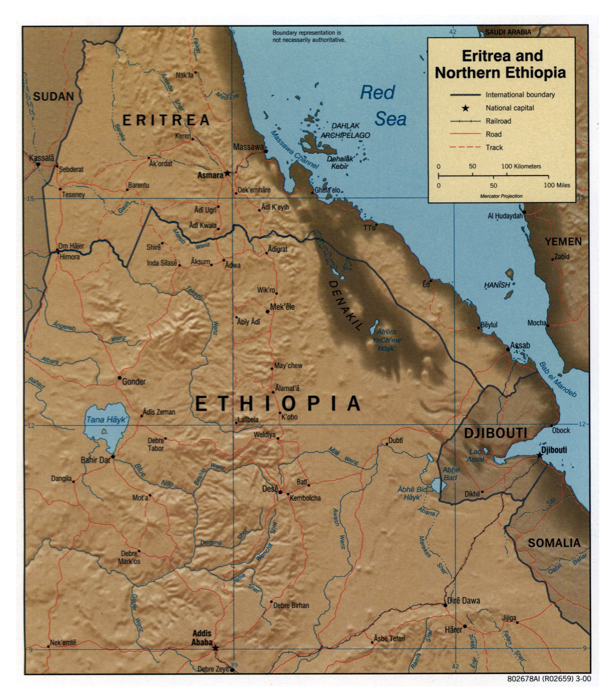 Large detailed political map of Eritrea and Northern Ethiopia with
