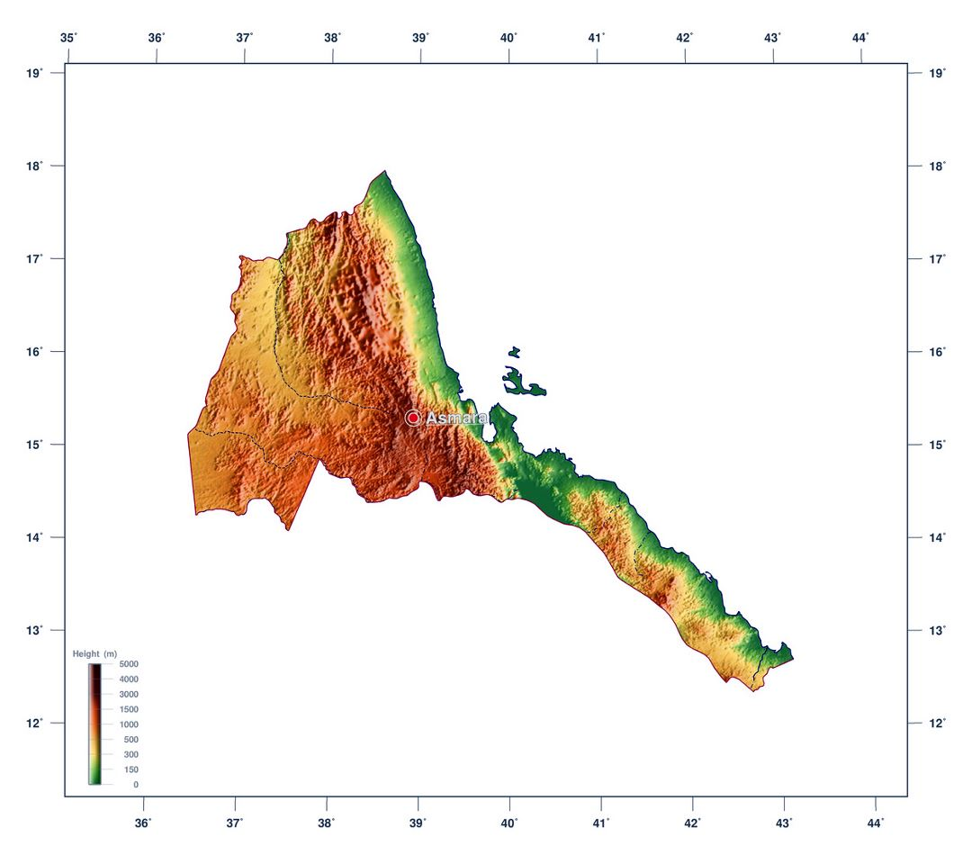 Large elevation map of Eritrea
