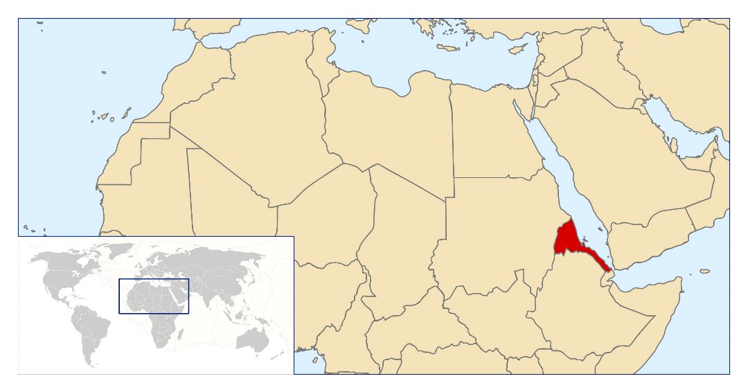 Large location map of Eritrea