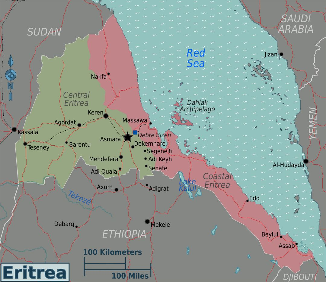 Large regions map of Eritrea