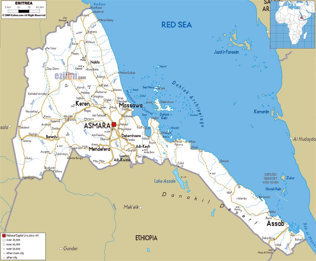 Large road map of Eritrea with cities and airports