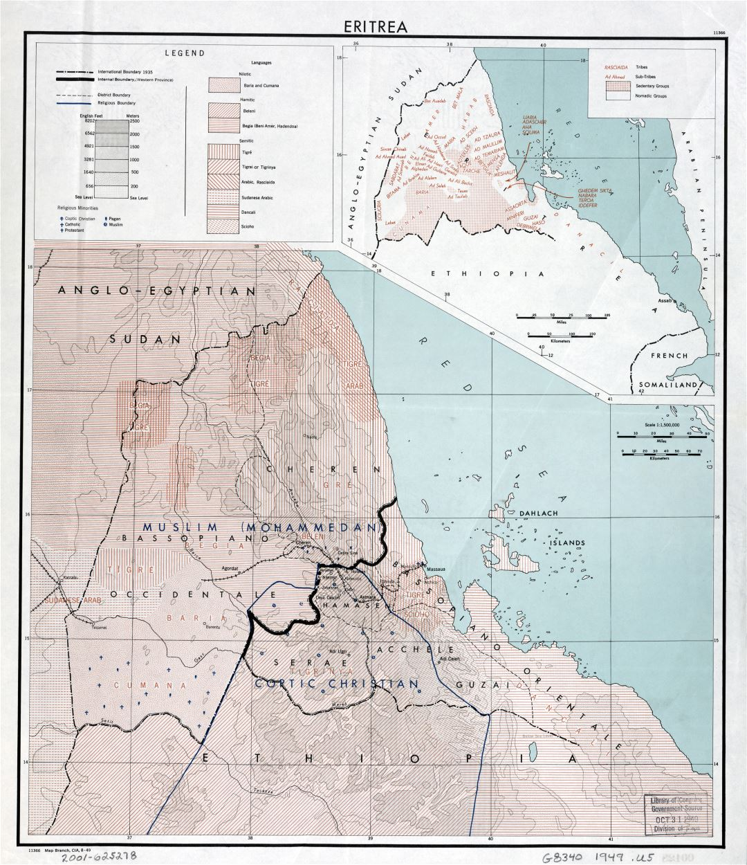Large scale map of Eritrea - 1949