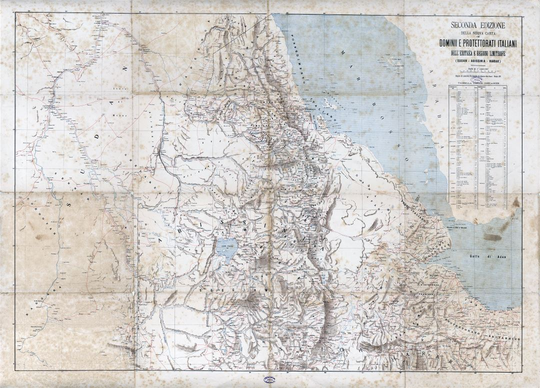 Large scale old map of Eritrea with relief, roads and cities - 1896