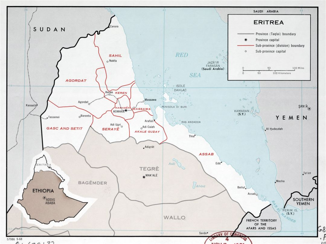 Large scale political and administrative map of Eritrea with major cities - 1968