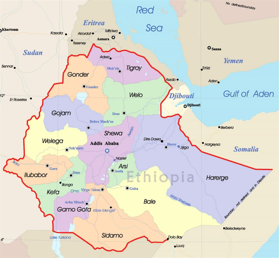 Detailed political and administrative map of Ethiopia