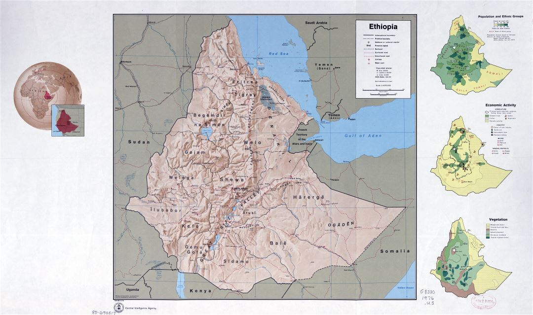In high resolution detailed country profile map of Ethiopia - 1976