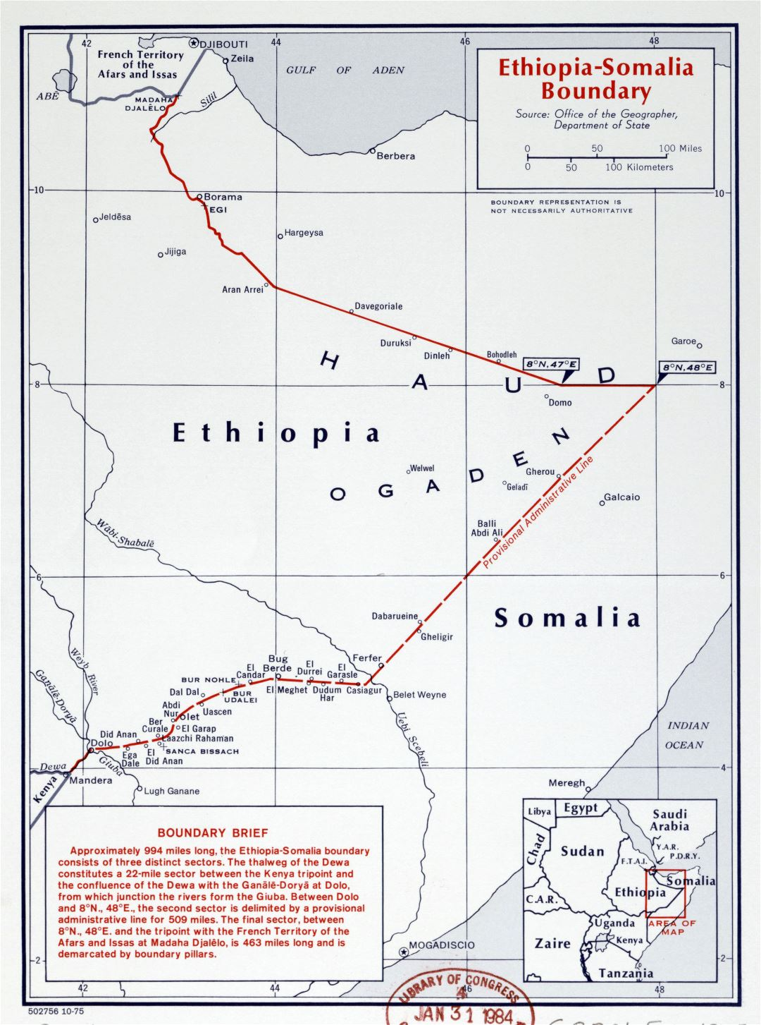 Large detailed map of Ethiopia-Somalia Boundary - 1975
