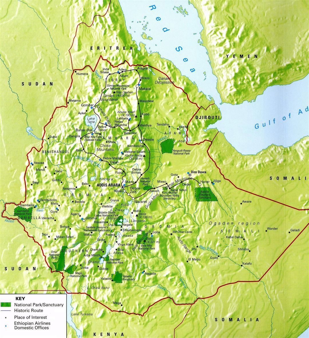 Large detailed national parks and points of interests map of Ethiopia
