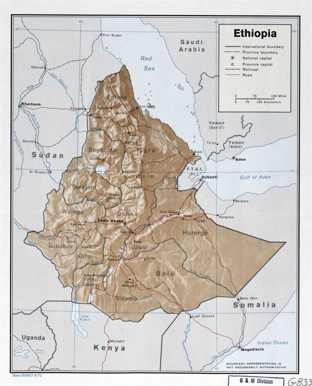 Large detailed political and administrative map of Ethiopia with relief, roads, railroads and cities - 1972