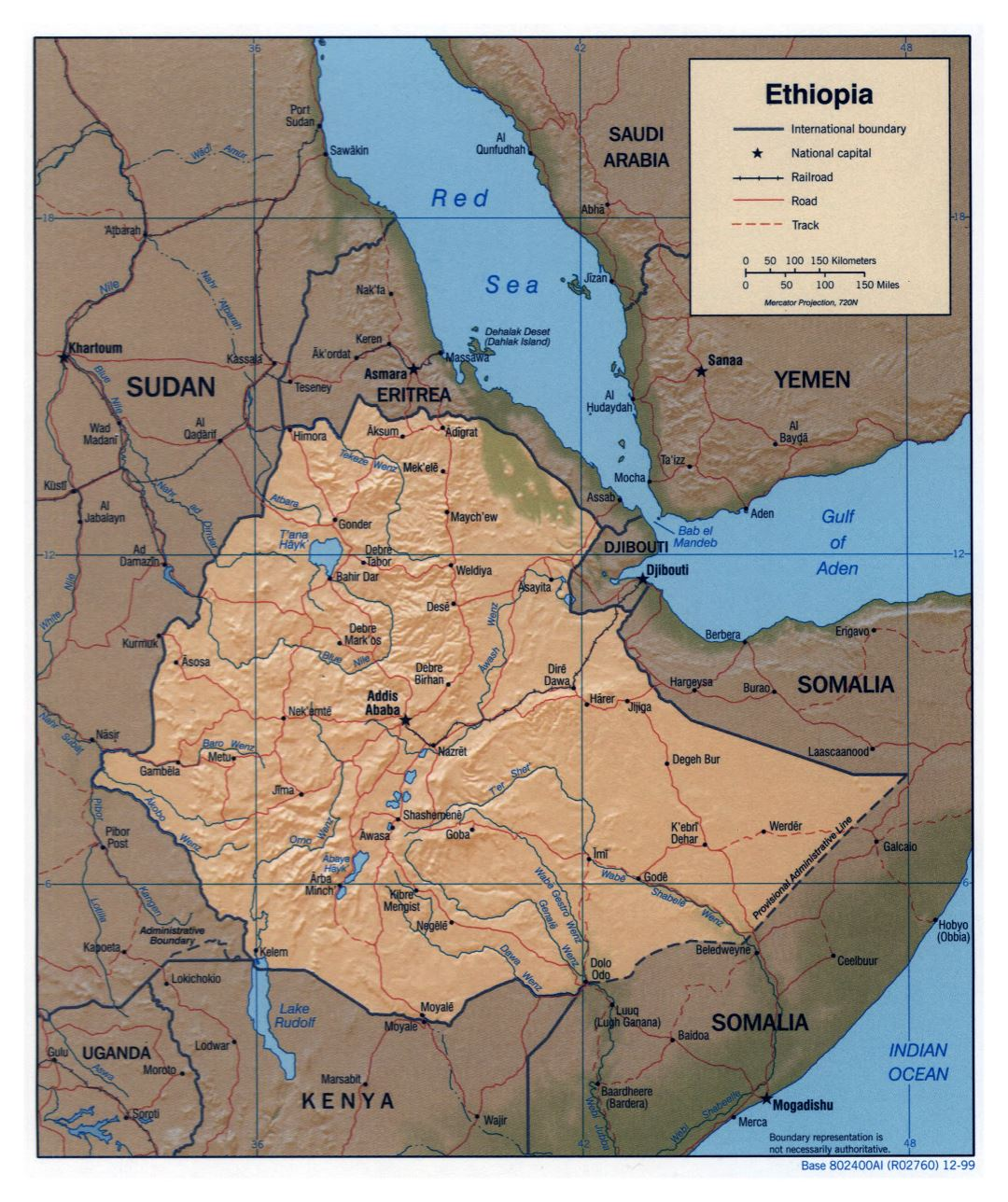 Large detailed political map of Ethiopia with relief, roads, railroads and major cities - 1999