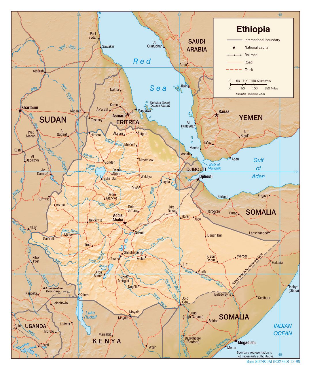 Large detailed political map of Ethiopia with relief, roads, railroads and major cities - 2000